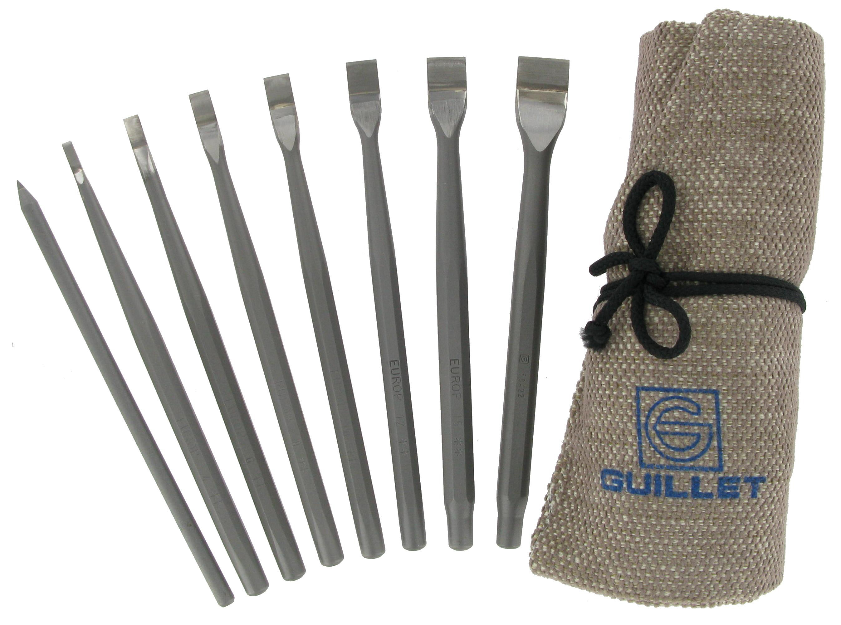 Guillet Europ Chisel Set for Marble And Stone 7+1 in Tool Roll